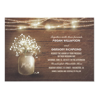 Baby's Breath Mason Jar String Lights Wedding 13 Cm X 18 Cm Invitation Card