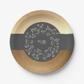 Baby's Breath Monogram Gold and Grey Wedding 7 Inch Paper Plate