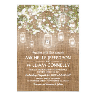 Baby's Breath Rustic Burlap Wedding 13 Cm X 18 Cm Invitation Card