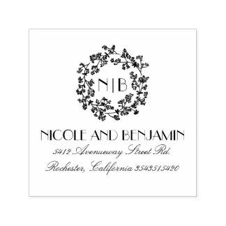Baby's Breath Wreath Monogram Floral Elegant Self-inking Stamp