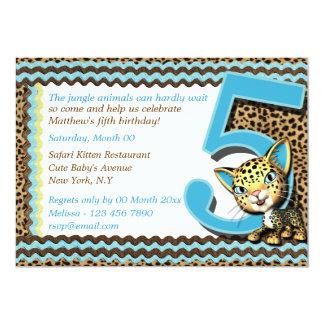 Baby's fifth birthday jungle safari 13 cm x 18 cm invitation card