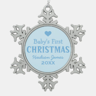 Baby's First Christmas | Baby Boy Snowflake Pewter Christmas Ornament