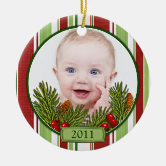 Baby's First Christmas Candy Stripes Round Ceramic Decoration