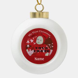 Baby's First Christmas Custom Photo Ball Ornament