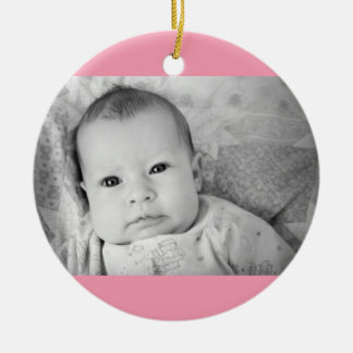 Baby's First Christmas Photo Pink Girl Background Christmas Ornament