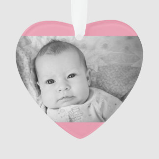 Baby's First Christmas Photo Pink Girl Background Ornament