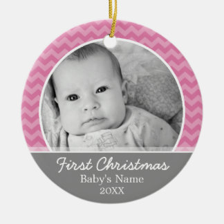 Babys First Christmas - pink chevrons and grey Christmas Ornament