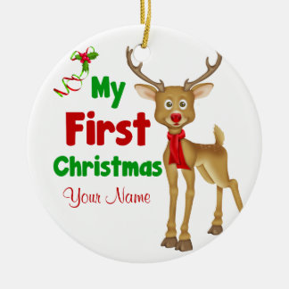 Babys First Christmas Reindeer Christmas Ornament