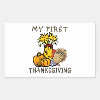 Baby's First Thanksgiving Rectangular Sticker