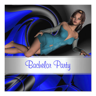 Bachelor Party  Abstract Blue Curve Pin up Girl 3 Card