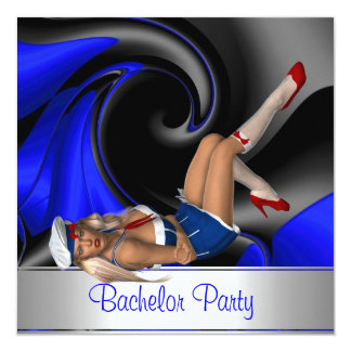 Bachelor Party  Abstract Blue Curve Pin up Girl Card