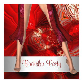 Bachelor Party  Abstract Red Girl Legs Card