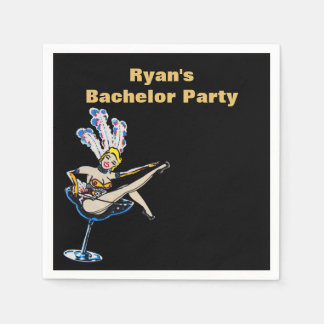 Bachelor Party Casino Showgirl Disposable Serviettes