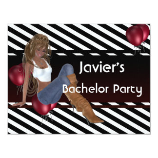 Bachelor Party Cute Girl Red Balloons 3 Card