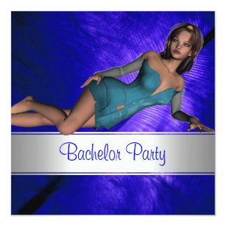 Bachelor Party Feather Blue Curve Pin up Girl Card