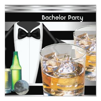 Bachelor Party Mens Drinks Tuxedo Black Silver Card