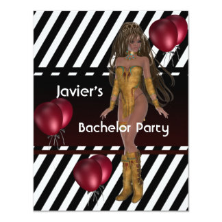 Bachelor Party S.exy Girl Black White Red Balloons Card