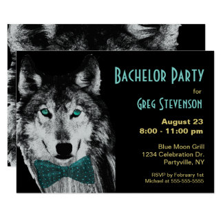 Bachelor Party Wolf 9 Cm X 13 Cm Invitation Card