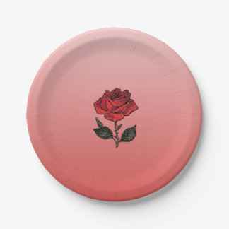 Bachelor Rose Paper Plate 7 Inch Paper Plate