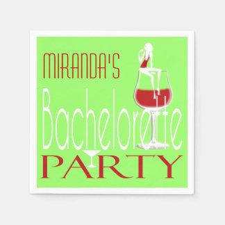 Bachelorette green red cocktail wine paper napkin