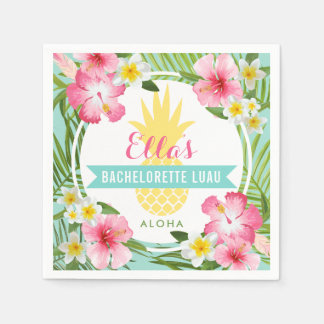 Bachelorette Luau | Tropical Pineapple Flowers Paper Napkin