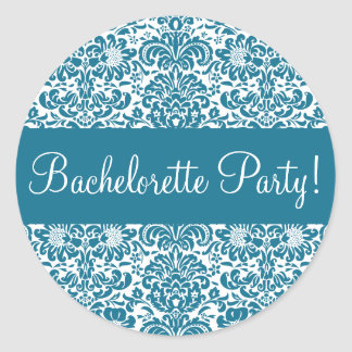 Bachelorette Party Damask Envelope Seal Round Sticker