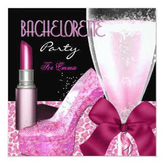 Bachelorette Party Lipstick Pink Champagne 13 Cm X 13 Cm Square Invitation Card