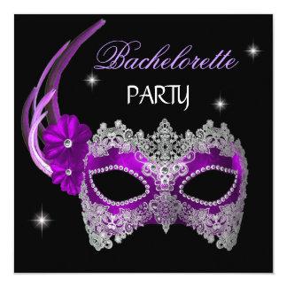 Bachelorette Party Purple Mask Black 13 Cm X 13 Cm Square Invitation Card
