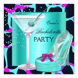 Bachelorette Party Wild Hot Pink Teal Aqua Card