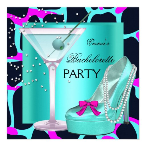 Bachelorette Party Wild Hot Pink Teal Aqua Announcement