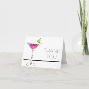 Bachelorette Pink Martini Cocktail Party Thank You Card