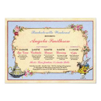 Bachelorette Wonderland Rabbit Blue Itinerary Plan Card