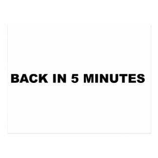 Back in Five Minutes Postcard