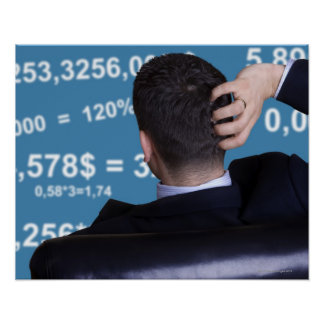 Back portrait of a businessman confused with poster