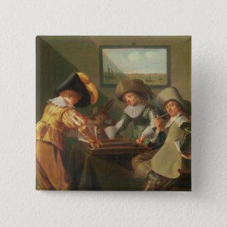 Backgammon Players, 17th century 15 Cm Square Badge