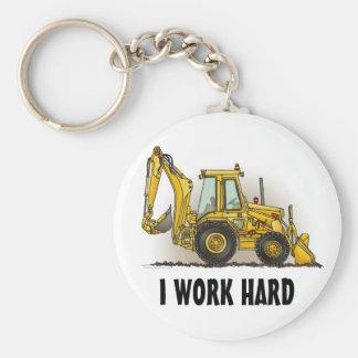 Backhoe Key Chain I Work Hard