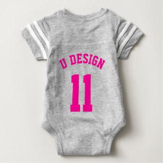 Backside Gray & Magenta Baby | Sports Jersey Baby Bodysuit