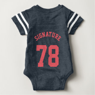 Backside Navy & Coral Baby | Sports Jersey Design Baby Bodysuit