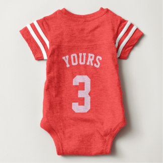 Backside Red & Light Pink Baby | Sports Jersey Baby Bodysuit