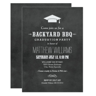 Backyard BBQ Invitation | Black Chalkboard Design