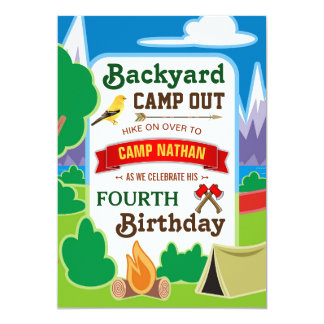 Backyard Camp Out | Camping Birthday Party Invite