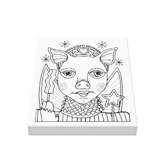 Bacon Fairy Princess Line Art Design Canvas Print