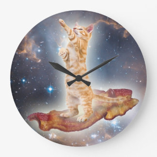 Bacon Surfing Cat Clock