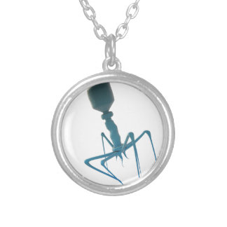 bacteriophage silver plated necklace