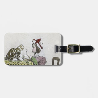 Bad Kitty Victorian Tea Party Vintage Little Girl Luggage Tag