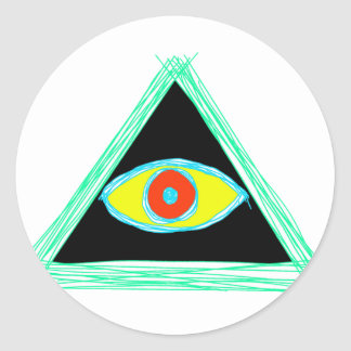 Badass Illuminati Classic Round Sticker