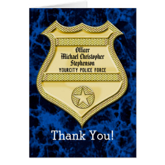 Badge Marble Police Graduation/Retirement Party Card