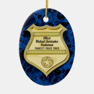 Badge Marble Police Graduation/Retirement Party Christmas Ornament