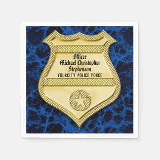 Badge Marble Police Graduation/Retirement Party Disposable Serviette