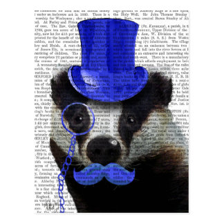 Badger with Blue Top Hat and Moustache Postcard